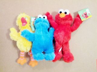 Licensed Sesame Street 10  BIG BIRD / ELMO / COOKIE MONSTER Plush SET