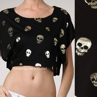 Happy Face Skull Belly Shirt Metallic Black Top Tank Shirt Womens