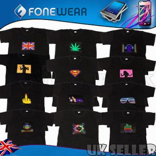 Sound Activated LED Up Down Graphics Light EL T Shirt for Party Pub
