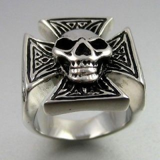 Biker Bold Black Silver Stainless Steel Skull Cross Mens Ring Size 10