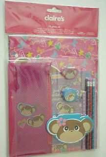 Claires Accessories Monkey 11 Piece School Supplies, Notebook Pencils