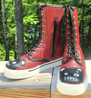 10 11 Red Pinstripe ZOMBIE TEDDY BEAR Extra High Top Sneakers
