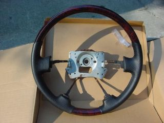 ACURA MDX HONDA ACCORD WOOD GRAIN AND BLACK LEATHER STEERING WHEEL