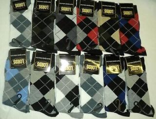 12 pairs lords argyle design men s dress socks sz 10 13
