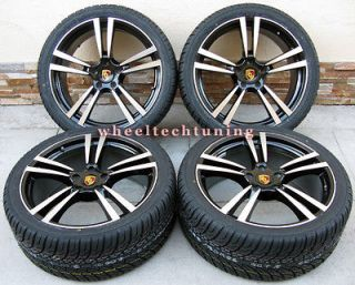 22 PORSCHE CAYENNE TURBO II STYLE WHEELS RIMS TIRES BLACK WITH