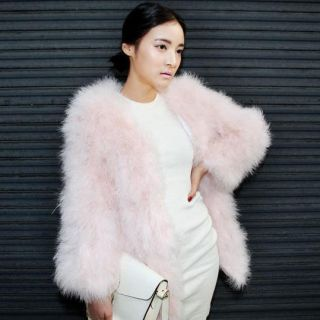 womens PALE PINK GREEN BLACK WINE RED FUZZY OSTRICH FEATHER COAT