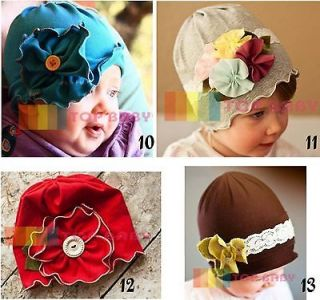 Girls Baby Toddler Cotton Hat Flower Blue Gray Multi Red Brown New NWT