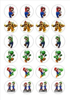 24 Edible cake toppers decorations super mario brothers bros