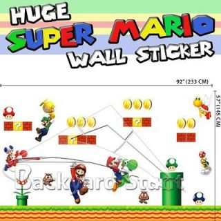 Huge Super Mario Wall Stickers Giant 145cm (H) X 233cm (W) Room Decor