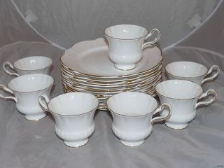 Set 11 Vintage Royal Victoria English Bone China Snack Plates & 7 Cup
