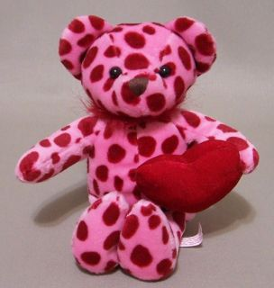 Red Polka Dot Bean Bag Plush Teddy Bear Valentines Day Playful Hearts