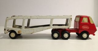Vintage PressPressed Steel Tonka Truck and Trailer. Red Truck Cab