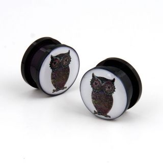 Pair Acrylic Screw on Owl feather wings ear flesh plugs gauges tunnel