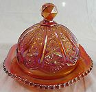 IRIDESCENCE BLUE CARNIVAL GLASS BUTTER DISH 8 75 X5 25