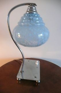 ELEGANT ORIGINAL 1920s ART DECO CHROME GLASS TABLE LAMP w. INTEGRAL