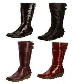 Fly London Womens Yush Black Red Purple Leather New Leather Long Boots