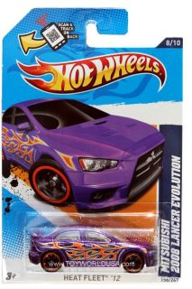 2012 Hot Wheels Heat Fleet 158 2008 Mitsubishi Lancer Evolution Purple