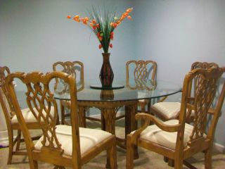 Shuptrine Glass Oak Table With 6 Oak Chairs 5 Ft Long Art Van NR HTF