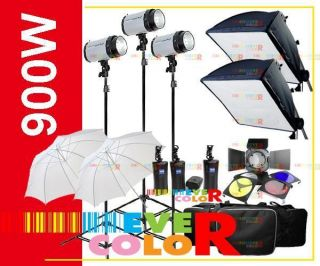 900W Studio Strobe Flash Light Kit Trigger Carry Case