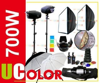 700W Studio Strobes Flash Lighting Kit Fan Cooled Light Set