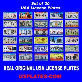 SET OF 30 UNITED STATES NUMBER LICENSE PLATES LOT TAG ORIGINAL USA