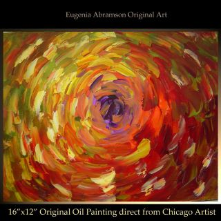 ART ABSTRACT MODERN PALETTE KNIFE OIL PAINTING FLOWER Eugenia Abramson