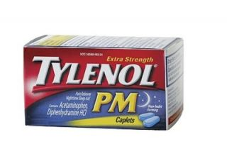 Tylenol Pm 100 caps. Acetaminophen Extra Strength Pain Reliever Sleep