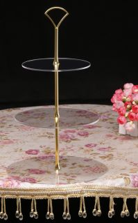 Tier Acrylic Cupcake Cake Stand Gold Art Deco Fan Handle for Wedding
