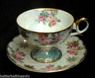 Royal Halsey Very Fine China Tea Cup Saucer Rose Swirl