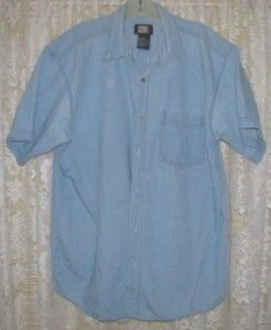 Mens LIGHT BLUE DENIM Casual Cotton SHIRT Size L Faded Glory