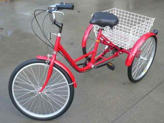 Wheel Adult 24 Bike Tricycle Bicycle 6 Speed Red