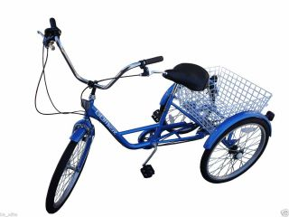 New 24 Adult Tricycle 3 Wheel 6 Speed Trike Shimano Red White Blue