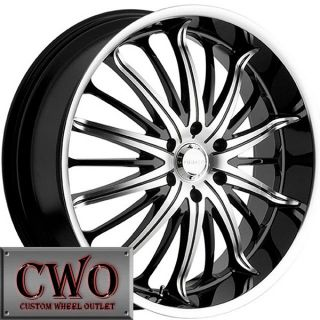 24 Black Akuza Belle Wheels Rims 5x115 5 Lug Charger Challenger 300