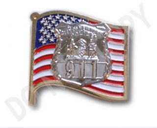 Police Officers Shield with 9 11 on American Flag Lapel Pin