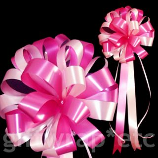Big White Hot Pink Wedding Bows Ribbon Pew Decorations