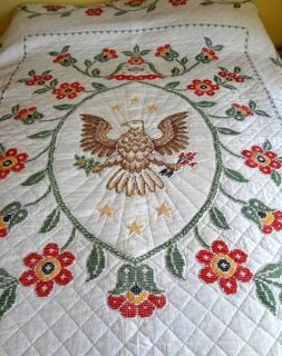 Cross Stitched American Eagle Quilt Wall Hanging Folk Art