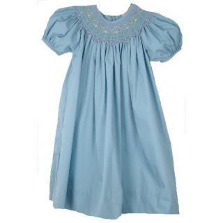 Embellished Petit Ami Smocked Bishop Boutique Dress in Soft Sea Teal