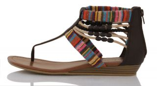 Brown Stripe Canvas Bead Details Flats Sandals Amory