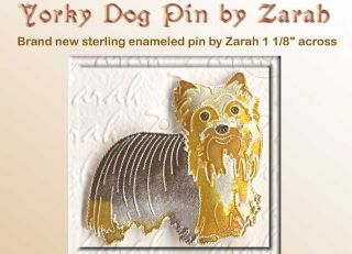 Enamel Sterling Yorkshire Terrier Yorkie Dog Pin Zarah