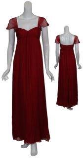 Amsale Cranberry Crinkle Chiffon Long Gown Dress 2 New