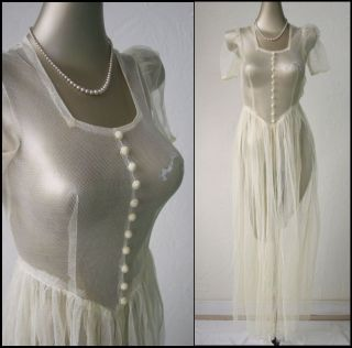 Vtg 30s 40s Sheer Netted Uber Feminine Wedding Party WWll Gown Dress s