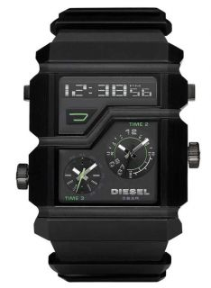 DIESEL New Mens Analog Digital Watch Black Rubber Band DZ7177 Display