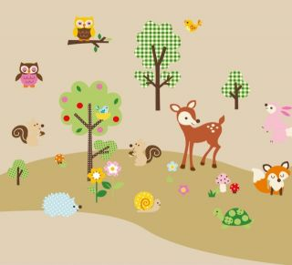 Woodland Animals Trees Flowers Wall Sticker Decals Fox Owls Birds