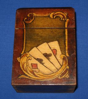 Antique Art Nouveau Stained Coloured Bridge Playing Card Double