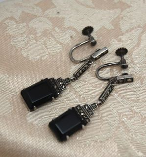 Antique Art Deco Edwardian Sterling Silver Marcasite Onyx Earrings