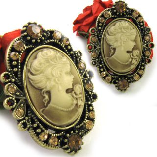 Classy Antique St Topaz Brown Cameo Pendant Pin Brooch