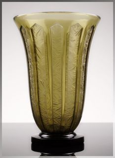 Stunning 1930s French ART DECO Ice Crystal GLASS VASE by VERLYS