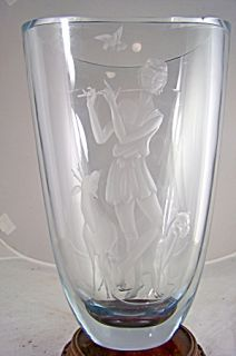 Monumental Swedish Art Deco Glass Vase Stromburg