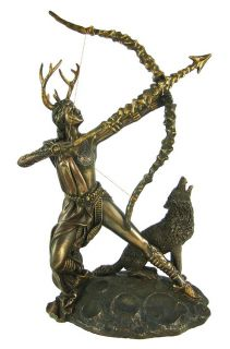 Bronzed Finish Artemis Moon Goddess Greek Statue Diana