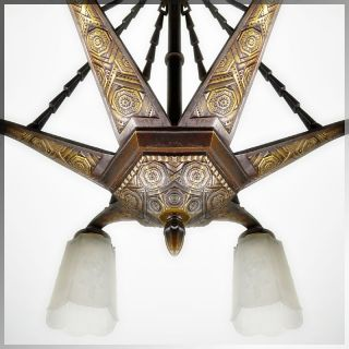 1920s French Art Deco High Style Bronze Chandelier Signed L D